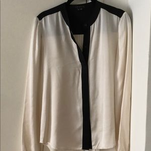 Theory silk blouse black and white S